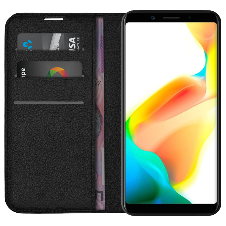 Leather Wallet Case & Card Holder - Oppo A73 / F5 (Black)
